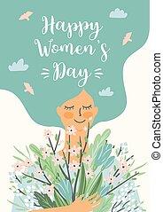 fleurs, day., mignon, vecteur, s, femme, femmes, gabarit, international