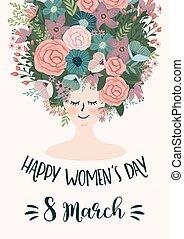 fleurs, day., vecteur, s, femme, femmes, gabarit, international