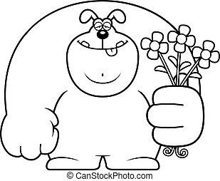 fleurs, dessin animé, chien