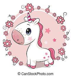fleurs, dessin animé, fond, licorne