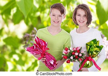 fleurs, deux enfants