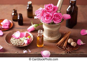 fleurs, ensemble, aromathérapie, mortier, spa, épices, rose