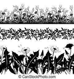 fleurs, ensemble, herbe, silhouette, seamless