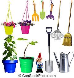 fleurs, ensemble, outils, jardin
