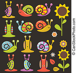 fleurs, escargots