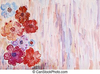 fleurs, espace, scénique,  Illustration, aquarelle, fond, texte