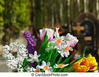 fleurs, et, cimetière