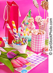 fleurs, fête, anniversaire, table, gosses, bonbons