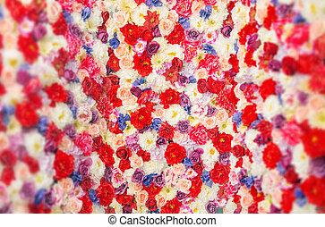 fleurs, fait, coloré, moquette
