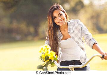 fleurs, femme, équitation bicyclette