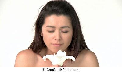 fleurs, femme, asiatique, séduisant