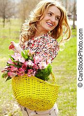 fleurs, femme