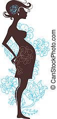 fleurs, femme, silhouette, pregnant