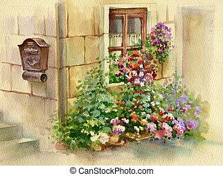 fleurs, fenêtre