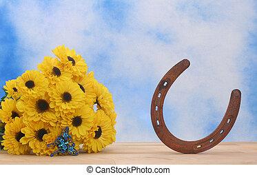 fleurs, fer cheval