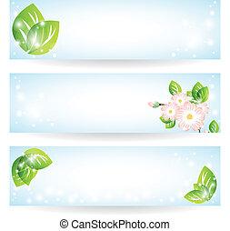 fleurs, feuilles, ensemble, vert, bannières