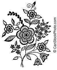 fleurs, feuilles, noir blanc