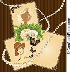 fleurs, filles, fond