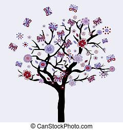 fleurs, floral, papillons, résumé, arbre