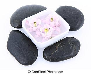 fleurs, flotter, spa, pierres