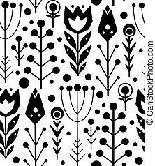 fleurs, folklorique, texture, pattern., herbes, vecteur, impression, noir, blanc, boho, indigène, fond, seamless, silhouette, modèle