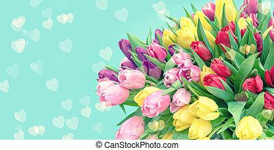fleurs, fond, bokeh, tulipe, turquoise, cœurs