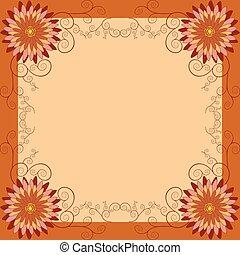 fleurs, fond, floral, tourbillons, vendange