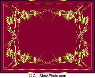 fleurs, fond, or