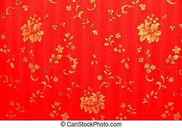 fleurs, fond, or, rouges