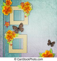 fleurs, fond, papillon, jaune, cadre, vendange, photo