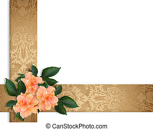 fleurs, frontière, élégant, cadeau