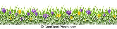 fleurs, frontière, herbe
