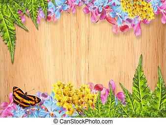 fleurs, frontière, orchidée