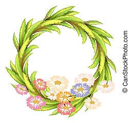 fleurs, frontière, rond, coloré