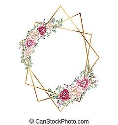 fleurs, géométrique, polyèdre