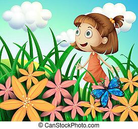 fleurs, girl, papillon, jardin