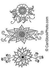 fleurs, henné