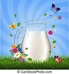 fleurs, herbe, cruche, lait