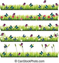 fleurs, herbe