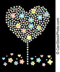fleurs, heureux, amour, arbre
