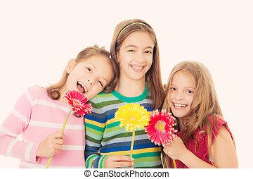 fleurs, heureux, enfants