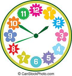 fleurs, horloge