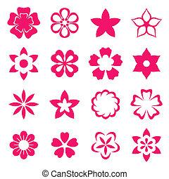 fleurs, illustration, icônes