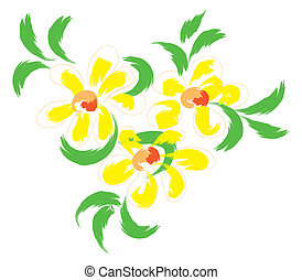 fleurs, jaune, nature morte
