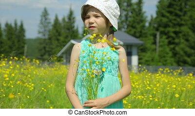 fleurs jaunes, pré, girl, peu
