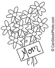 fleurs, jour, mères