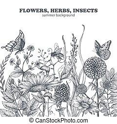 fleurs, modèle, leaves., seamless, dessiné, floral, pavot, main