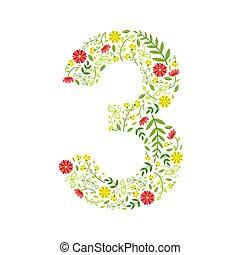 fleurs, modèle, numéro 3, fait, illustration, vecteur, feuilles vertes, floral
