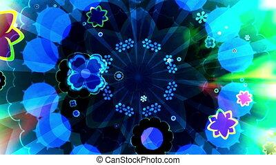fleurs, multicolore, faire boucle, retro, fond, animé