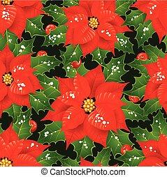 fleurs, noël, fond, seamless